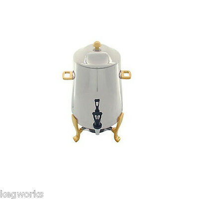 Stainless Steel Coffee Urn with Gold Accents – 3 Gallon - Banquet Buffet Warmer
