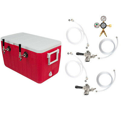 Double Faucet Coil Cooler Kit w/ out CO2 Tank - Draft Beer Bar Picnic Jockey Box