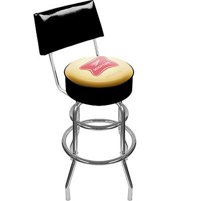 Miller High Life Padded Metal Bar Stool with Back - Vinyl Beer Logo NEW!