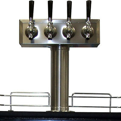 Stainless Steel Draft Beer Kegerator T-Tower - 4 Faucets - Commercial & Home Bar