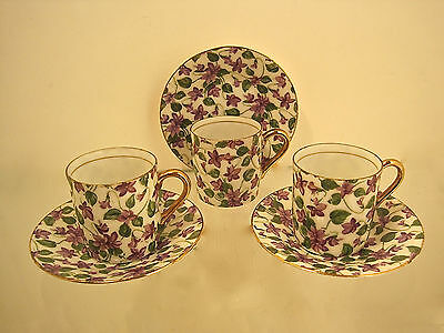 Vtg Set3Royal Crown Japan Gold Gilt Chintz Violets Cup Saucer Espresso Demitasse