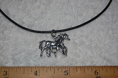 Horse Charm Black Leather Necklace - pony mustang equestrian pendant mare & foal