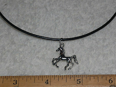 Horse Charm Black Leather Necklace - pony mustang equestrian pendant FOAL colt