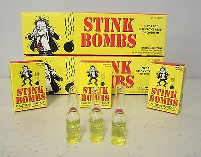 6 Stink Bombs Glass Vials Stinky Smelly Nasty Fart Gas Bomb Smell  Gag Gift