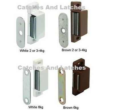 MAGNETIC CATCHES KITCHEN CABINET CUPBOARD 2kg, 3-4kg 6kg Pull WHITE or BROWN