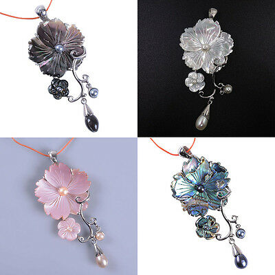 Mother of pearl abalone pink grey shell flower long pendant focal bead 70mm