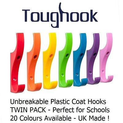 Coat Hooks for Schools SAFE & STRONG Unbreakable Plastic TWIN PACK (2 hooks)
