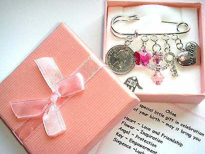 NEW BABY GIRL BIRTH GIFT MADE WITH SWAROVSKI ELEMENT Lucky Sixpence Personalised