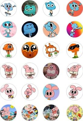 24x PRECUT THE AMAZING WORLD OF GUMBALL RICE/WAFER PAPER CUP CAKE TOPPERS