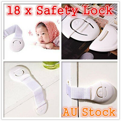 18 x Cupboard Cabinet Drawers Security Safety Lock Locks Baby Child Kids Toddler