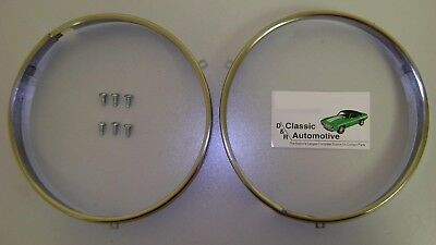 "Headlamp Retaining Rings w/ hardware Chevrolet Pontiac Olds  ""Notch"" style ring"