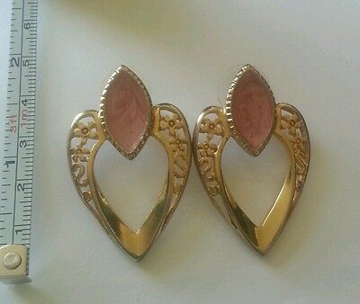 Vintage Classic Golden Colored w/ Pink Rose Hearts Earrings set of 3
