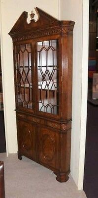 Victorian Flame Mahogany Corner Cabinet Display Bookcase
