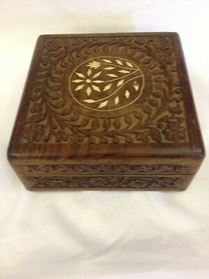 Hand Carved Jewelry Wooden Box Decorative Vintage Style Storage Antique Box