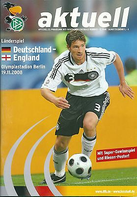 Germany V England ~ Friendly ~ 19 November 2008 ~ Superb Condition