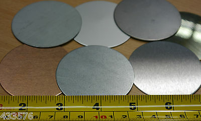 Qty 2 BLANK DISCS 47mm Dia Sheet Metal Brass Stainless Steel Aluminium Copper