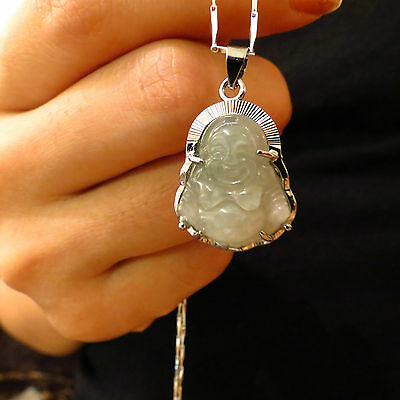 Jade Buddha Silver Edge Pendant + 925 Sterling  Silver Necklace 2 items