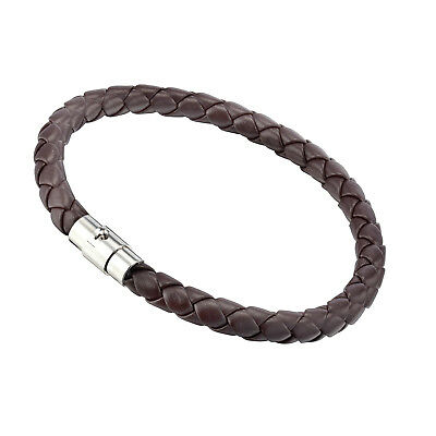 US Men Women GENUINE LEATHER Black Brown Braided Wristband Bracelets GM001