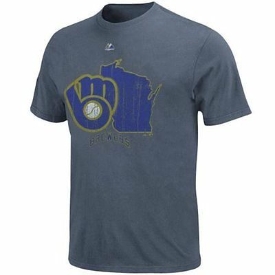 MLB Baseball T-Shirt MILWAUKEE BREWERS - Cooperstown Double Lead Pigment Dyed
