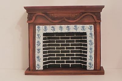 Fireplace Dollhouse Resin Delft and Wood Look 1:12 Scale
