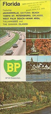 1971 BP OIL Road Map FLORIDA Miami Daytona Beach Jacksonville Tallahassee Tampa