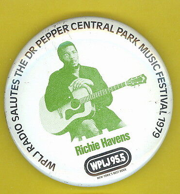 Richie Havens 1979 NYC radio WPLJ  pinback button badge E DR PEPPER