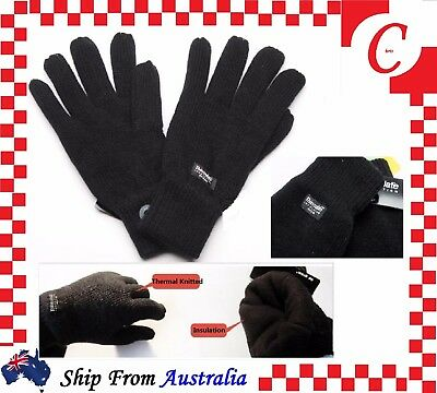MEN MENS WINTER Thermal Knitted THINSULATE 40Gram INSULATION FLEECE GLOVES Black
