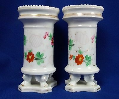 Early 19th Century Pair Of Old Paris Porcelain Spill Vases
