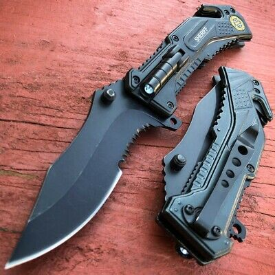 MTECH USA Tanto Spring Assisted Tactical Folding Pocket RESCUE Knife Open Gray