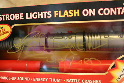 1999 Darth Maul SIGNED TWICE by RAY PARK  ELECTRONIC LIGHTSABER ~MINT/SEALED MIB