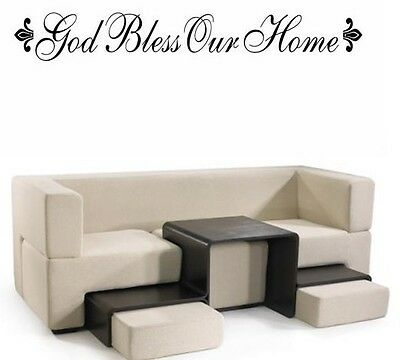 """GOD BLESS OUR HOME Words Wall Decal Decor Quote Lettering Sticky Sticker 36"""""""
