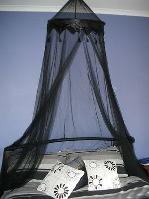 Black Crown Tasselled Bed Canopy Sgle/Dble/Queen NEW