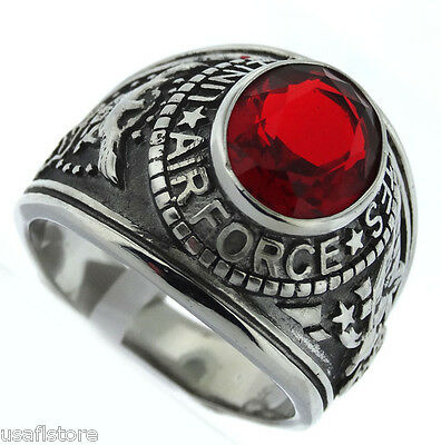 Red Stone US Air Force Military Silver Stainless Steel Mens Ring