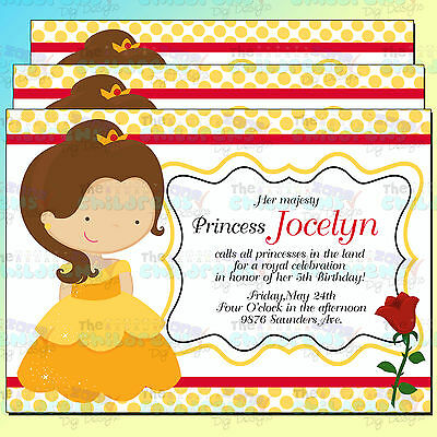 Bella Inspired Invitations 2-7x5-Princess Invitation-Kids Invitations-Bella