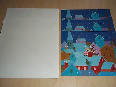 3 Vintage Norcross Christmas Cards - Unused - Mint