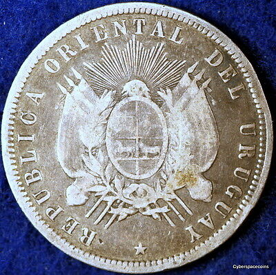 Nice Estate Find!! 1877-A Nice Grade Uruguay KM-16 Fifty Centesimos!!