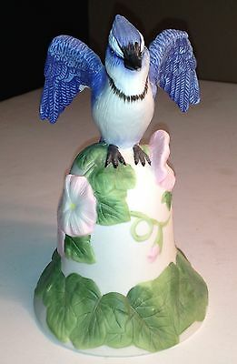 2001 Avon Collectible Blue Jay Bird Porcelain Bell - Beautiful Great Condition