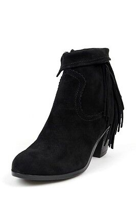 db82382a2d31df Women s Sam Edelman Louie Bootie Black ankle cuff fringe Suede boot Stacked  heel