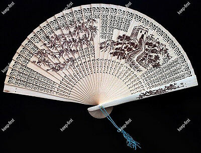 Chinese Traditional Sandalwood Flower Design Hand Folding Hollow out Tassel Fan