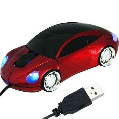 Daffodil WMS207R - Car Shaped USB Optical Mouse for Windows and Mac - Red