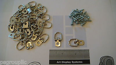 "10 Triangle D Ring Strap Hangers Medium For Picture Hanging 10 #6 1/2"" Screws"
