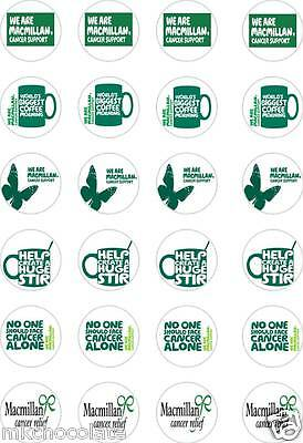 24x PRECUT MACMILLAN CANCER SUPPORT/CHARITY RICE/WAFER PAPER CUP CAKE TOPPERS