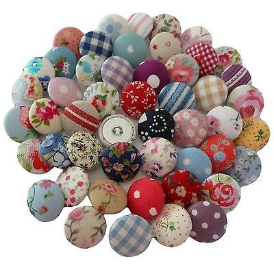 Superb value 50 Assorted Fabric Covered Buttons - 2cm (actual designs may vary)