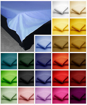 Poly Cotton Flat Bed Sheets in plain Dyed Colours Single, Double, King