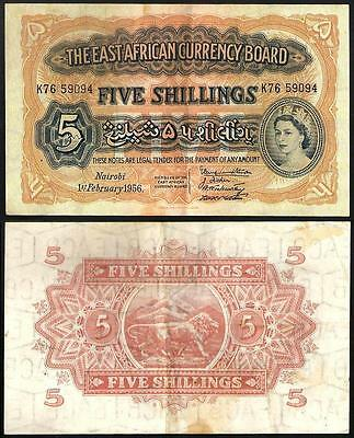 EAST AFRICA  5 Shillings 1956 VF P 33