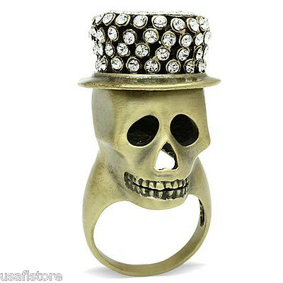 Skull With A Hat  Clear Crystal Stones Antique Copper EP Mens Ring