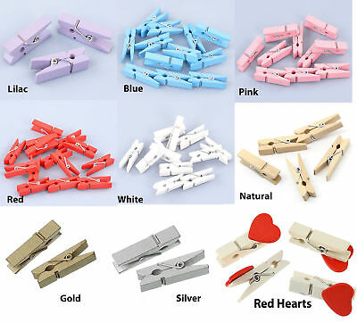 20 Wooden Mini Craft Pegs 35mm in length - choose colour