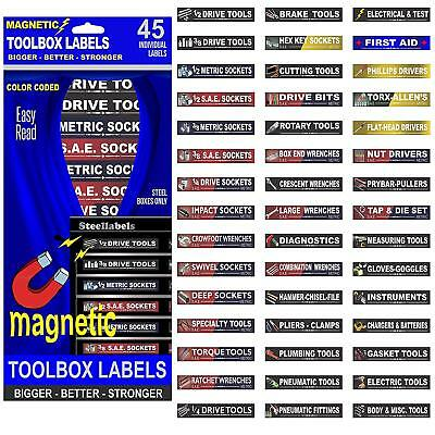 "Adjustable Magnetic TOOLBOX LABELS for all tool chests ""Bright White Lettering"""