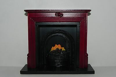 Dollhouse Fireplace Faux Mahogany Wood Mantel 1:12 Scale