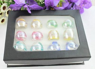 12PCS Mixed Colours Lampwork Whirlpool Polish Glass Rings #21934